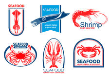 Seafood icons. Fish food emblem Stock Photo