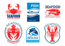Seafood icons. Fresh fish restaurant menu. Seafood products icons. Vector emblems set for product sticker, company label, restaurant menu. Graphic symbols of Stock Photo