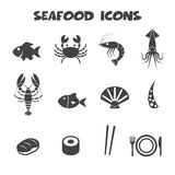 Seafood icons Royalty Free Stock Photography