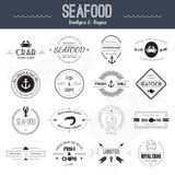 Seafood Icons. Perfect set of seafood logos. Grill, crab, lobster, restaurant logo collection made in . Seafood badges, labels and design elements Stock Photography
