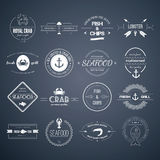Seafood Icons. Perfect set of seafood logos. Grill, crab, lobster, restaurant logo collection made in . Seafood badges, labels and design elements Stock Photo