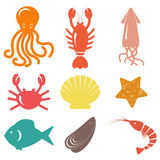 Seafood icons. Sea life Royalty Free Stock Photos