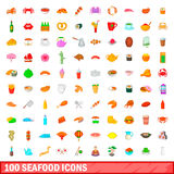100 seafood icons set, cartoon style. 100 seafood icons set in cartoon style for any design illustration Stock Image