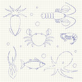 Seafood icons set Royalty Free Stock Images