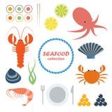 Seafood icons set Stock Photos