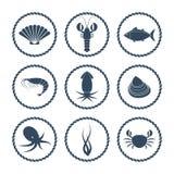 Seafood icons set Stock Photo