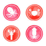 Seafood icons set Stock Photo