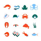 Seafood icons set Stock Photos