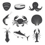 Seafood Icons Set Stock Images