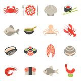 Seafood icons set flat Stock Photo