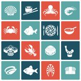 Seafood Icons Set Flat Royalty Free Stock Photos