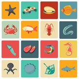 Seafood icons set flat Stock Photography