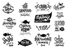 Seafood icons set. Set of hand drawn watercolor labels and badges of seafood. Vector illustrations for graphic and web design, for restaurant, menu, fish market Stock Photography