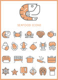 Seafood Icons set  Stock Photography