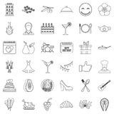 Seafood icons set, outline style. Seafood icons set. Outline style of 36 seafood vector icons for web isolated on white background Royalty Free Stock Images