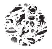 Seafood icons set in round shape, black silhouette. Sea food collection isolated on white background. Fish products. Marine meal design element. Vector Stock Photography