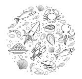 Seafood icons set in round shape, line, sketch, doodle style. Sea food collection. Isolated on white background. Fish products, marine meal design element Royalty Free Stock Images