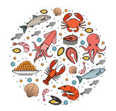 Seafood icons set in round shape, line, sketch, doodle style.. Sea food collection isolated on white background. Fish products, marine meal design element Royalty Free Stock Photography