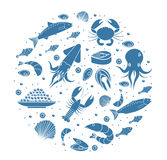 Seafood icons set in round shape,silhouette. Sea food collection isolated on white background. Fish products, marine. Meal design element. Vector illustration Stock Photography
