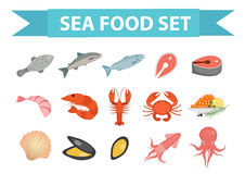 Seafood icons set vector, flat style. Sea food collection isolated on white background. Fish products illustration Royalty Free Stock Photo