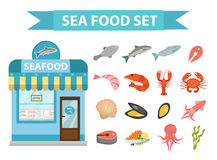 Seafood icons set vector, flat style. Sea food collection isolated on white background. Fish products illustration. Design element. Fish store building Stock Photography