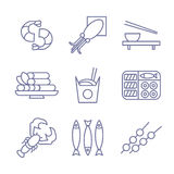 Seafood Icons, Thin Line Style, Flat Design Stock Image