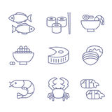 Seafood Icons, Thin Line Style, Flat Design. Set Stock Images