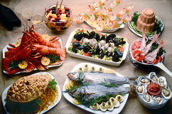 Seafood. Including shellfish lobster and fish Royalty Free Stock Photo