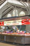 Delicious Spanish seafood for sale at the Central Market, Valencia, Spain. A vendor sells fresh and fresh seafood in the indoor Central Market (Mercado Central) Royalty Free Stock Images