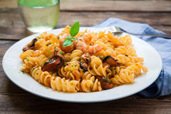 Seafood italian pasta style Stock Images
