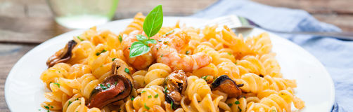 Seafood italian pasta style Royalty Free Stock Photography