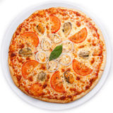 Seafood Italian Pizza. Full circle Seafood Italian Pizza isolated on white top view stock photo