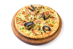 Seafood Italian Pizza isolated Royalty Free Stock Photography