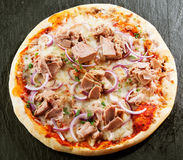 Seafood Italian pizza with tuna fillet Royalty Free Stock Images