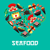 Seafood Japanese cuisine heart vector poster. Seafood in heart shape poster. Vector symbol designed of Japanese cuisine food with sushi shrimp rolls, salmon Royalty Free Stock Photos