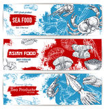 Seafood and japanese cuisine restaurant banner set Royalty Free Stock Photo