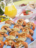 Seafood Kebabs Picnic Table Royalty Free Stock Images