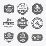 Seafood label set black Stock Images