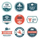 Seafood label set. Seafood always fresh fish products delicacies sushi japanese cuisine lobster bar icons set isolated vector illustration vector illustration