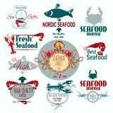 Seafood Label Set. Seafood restaurant menu fresh fish crabs and prawns label set isolated vector illustration Royalty Free Stock Image