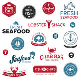 Seafood labels. Set of vintage and modern seafood restaurant labels Royalty Free Stock Photos