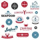 Seafood labels. Set of vintage and modern seafood restaurant labels stock illustration