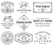 Seafood labels and badges vol. 1 black on white Royalty Free Stock Image