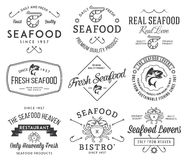 Seafood labels and badges vol. 1 black on white Royalty Free Stock Photo