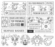 Seafood labels and badges vol. 4 black on white Stock Image