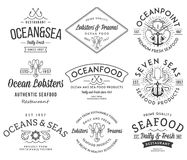 Seafood labels and badges vol. 3 black on white Royalty Free Stock Photos