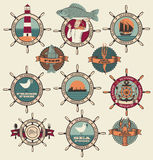 Seafood labels. Icons, badges template set Stock Photos