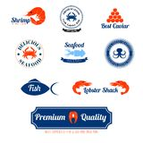 Seafood labels icons set. Seafood restaurant supplies stores fresh quality crab lobster salmon fish labels icons set abstract isolated vector  illustration Stock Photos