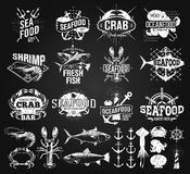 Seafood labels, logo chalk drawing. Vintage style Royalty Free Stock Photos