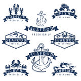seafood Labels in retro style.Vector Royalty Free Stock Photos